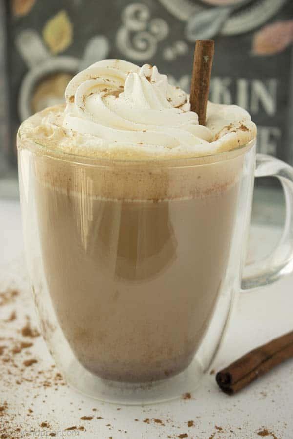 Pumpkin Spice Latte like Starbucks in a clear mug