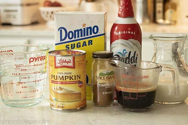 Ingredients to make PSL Starbucks