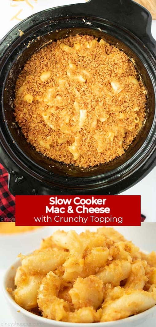 Long Pin Collage with banner text Slow Cooker Mac & Cheese with Crunchy Topping