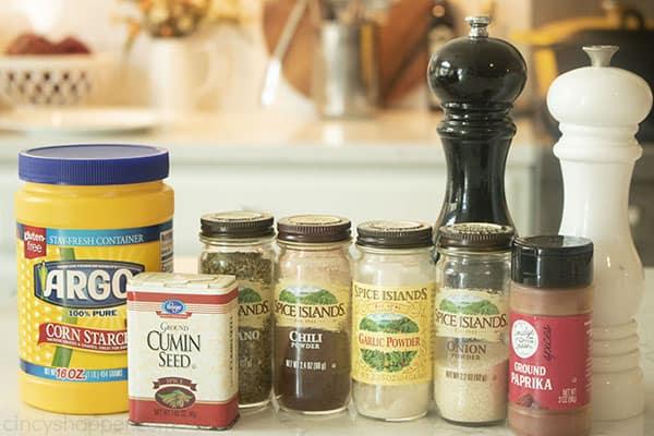 Ingredients to make taco seasoning