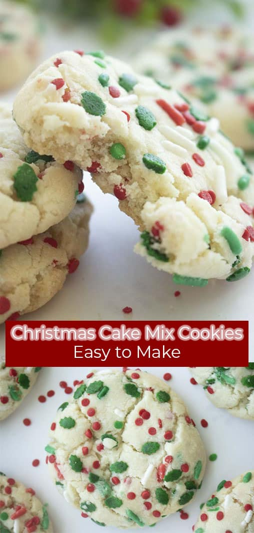 Long pin collage text on banner Christmas Cake Mix Cookies Easy to Make