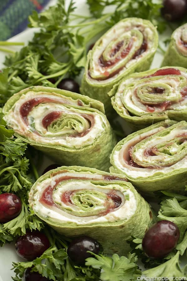 Tukey pinwheels for Thanksgiving appetizer on a plate