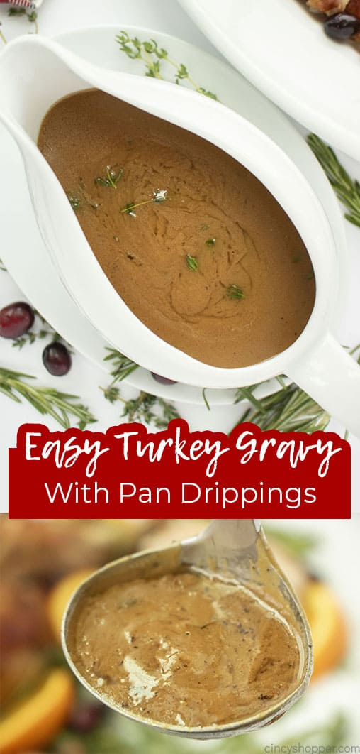 Long pin collage with text Easy Turkey Gravy with pan drippings