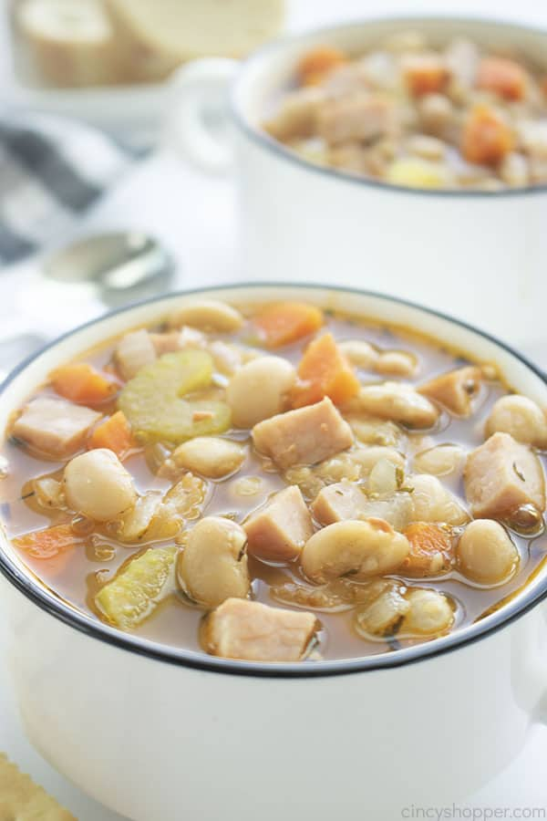 Ham and Bean Soup in bowls