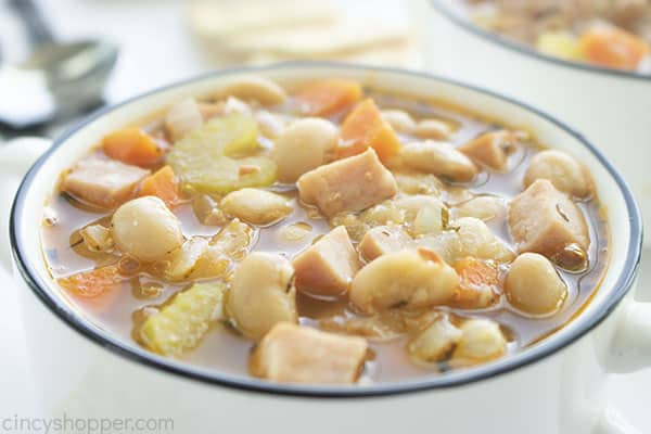 Bowl of stovetop quick bean soup