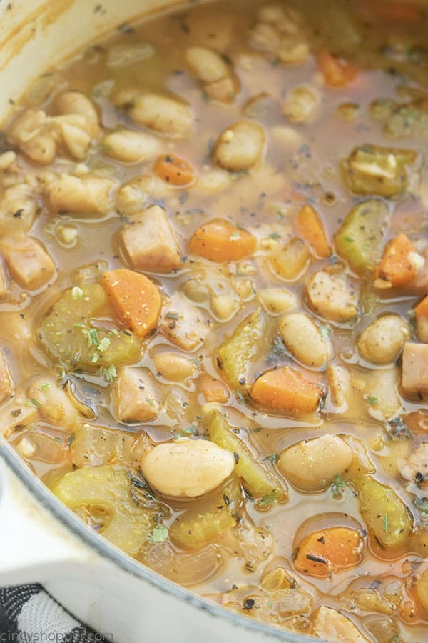 Ham and White Bean Soup in a dutch oven