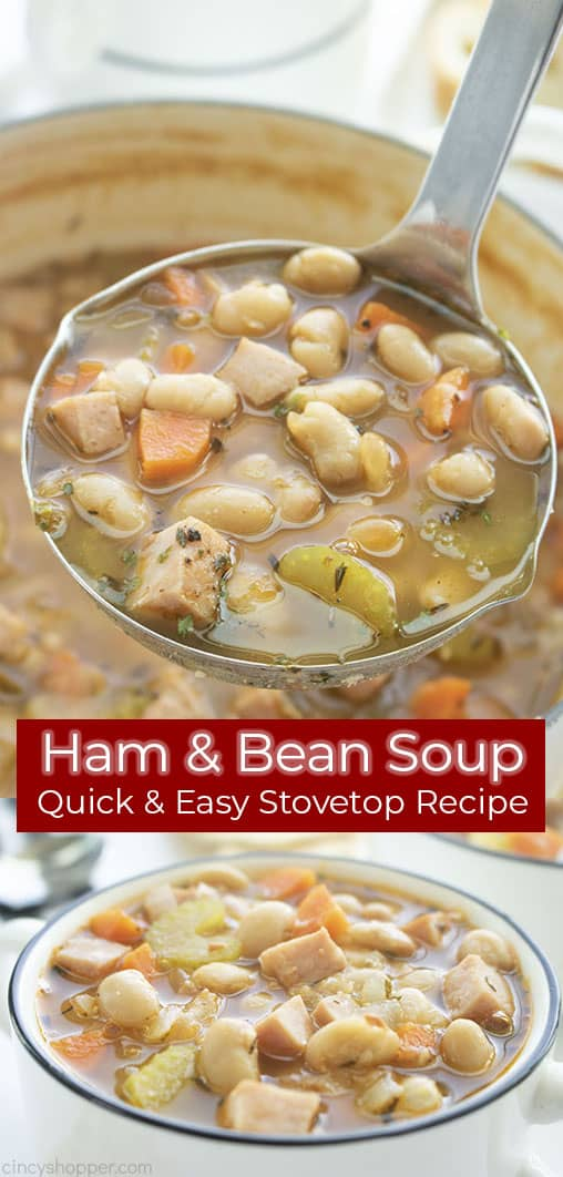Long pin collage Ham & Bean Soup Quick Easy Stovetop Recipe