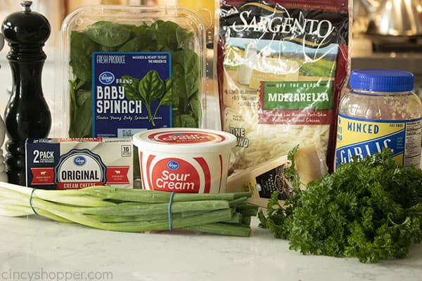 Ingredients for spinach dip
