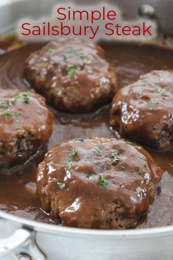 Text on image Simple Salisbury Steak