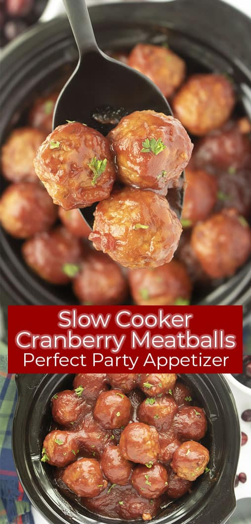 Long pin collage with banner text Slow Cooker Cranberry Meatballs Perfect Party Appetizer