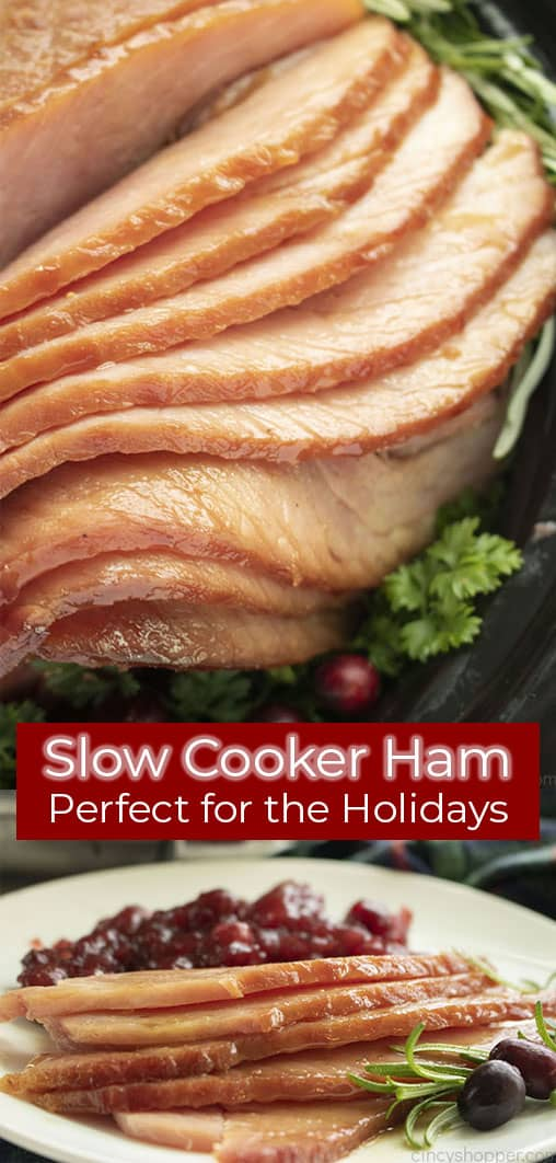 Long pin collage with text on image Slow Cooker Ham Perfect for the Holidays