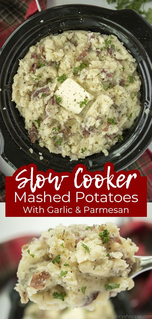 Long pin collage with text Slow Cooker Mashed Potatoes with Garlic and Parmesan