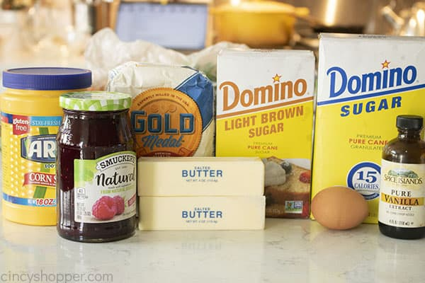 Ingredients for Christmas thumbprint cookies