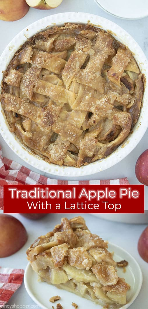 Long Pin Collage with text Traditional Apple Pie with a Lattice Top