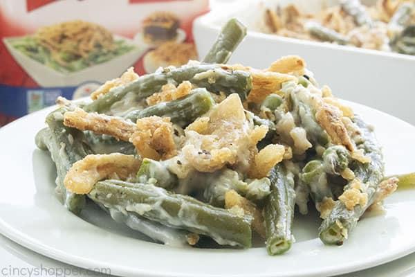 Plate of Campbells green bean casserole