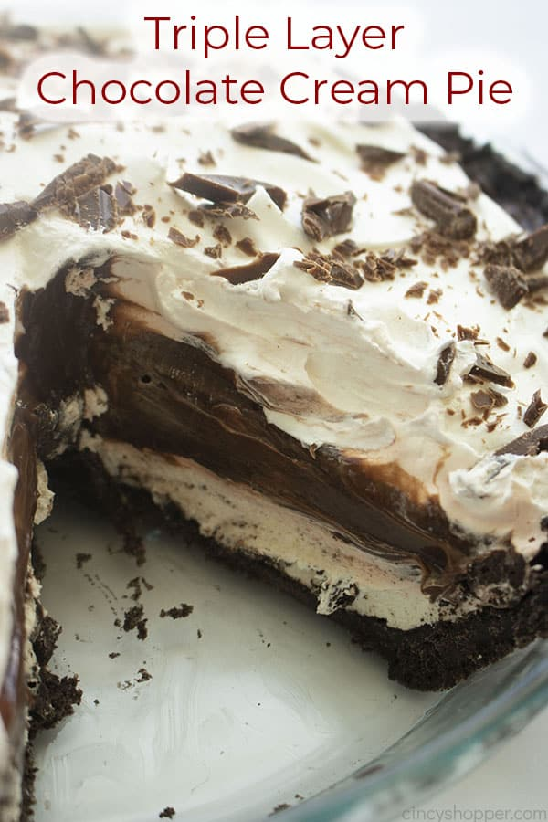 Text on image Triple Layer Chocolate Cream Pie