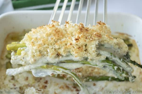 Creamy Asparagus on a spatula
