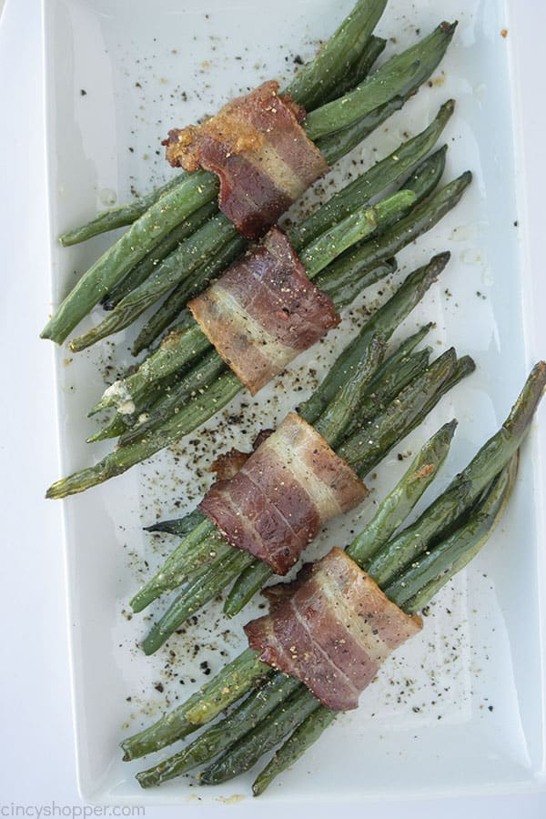 Bacon Wrapped Green Beans on a platter