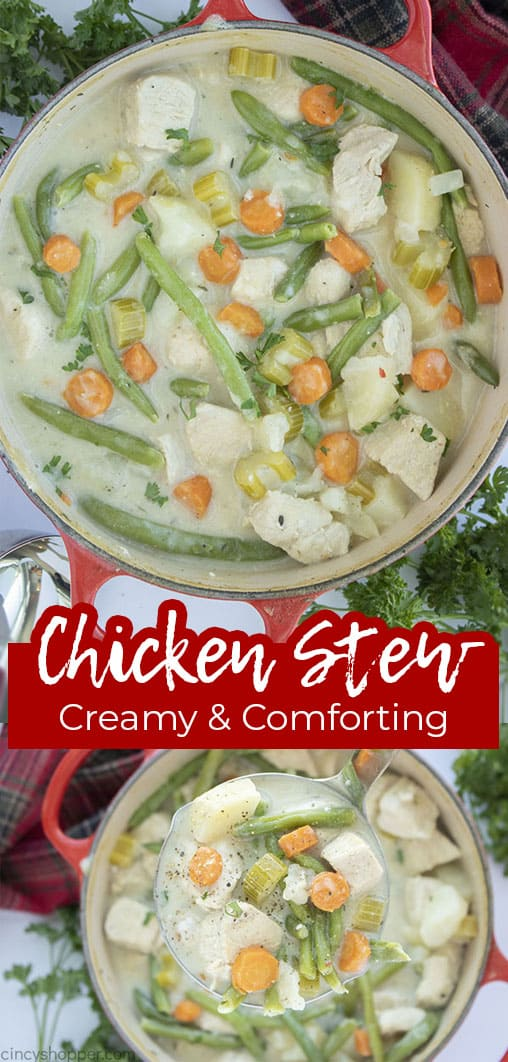 Long pin collage with text banner Chicken Stew Creamy and Comforting