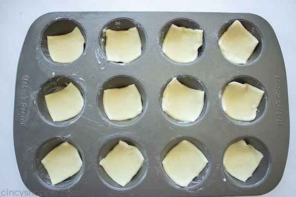 Puff pastry in mini muffin tin