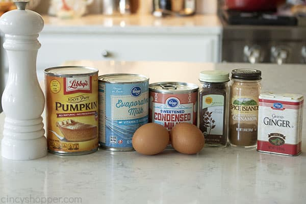 Ingredients to make New Libbys Pumpkin PIe