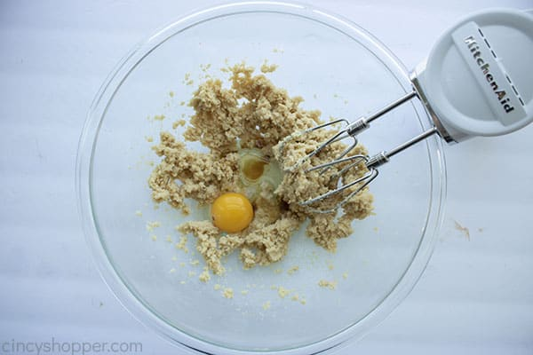 Egg and vanilla added to butter and sugar mixture