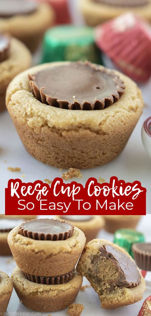 Long pin collage Reese Cup Cookies so easy to make