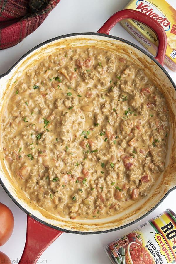 Rotel Dip in a pan