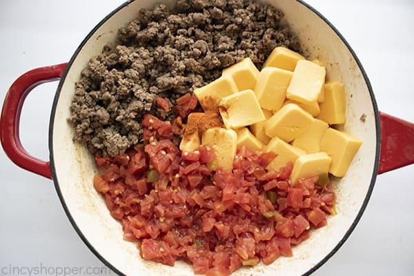 Dip ingredients in pan