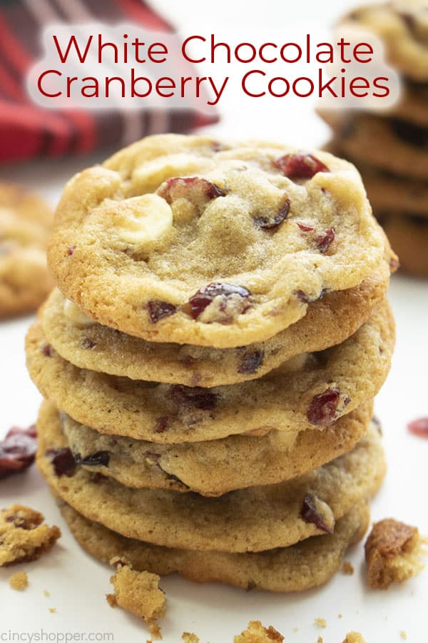 Text on image White Chocolate Cranberry Cookies