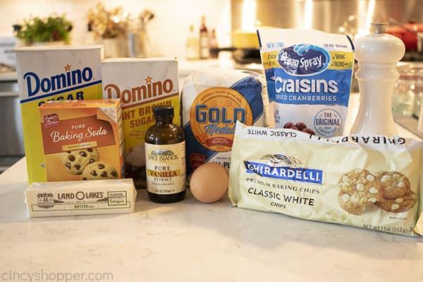 Ingredients to make Cranberry Cookies