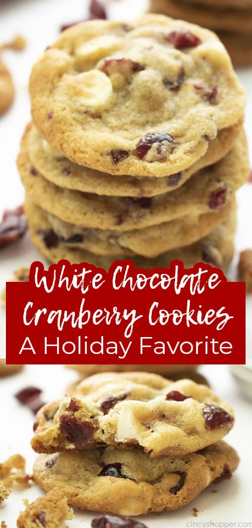 Long pin collage White Chocolate Cranberry Cookies A Holiday Favorite