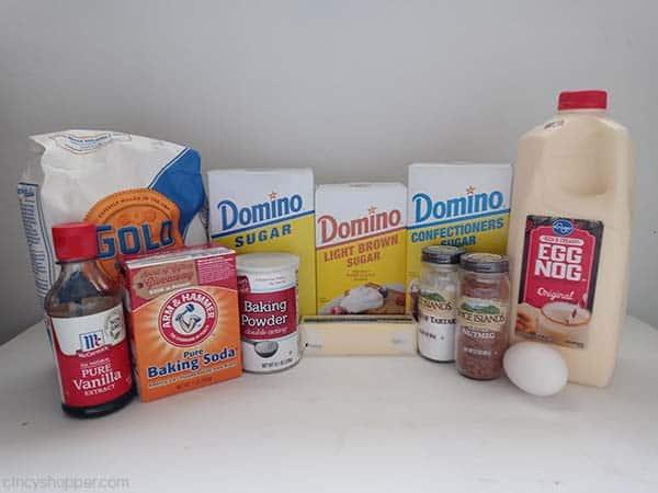 Ingredients for Eggnog Snickerdoodle Cookies