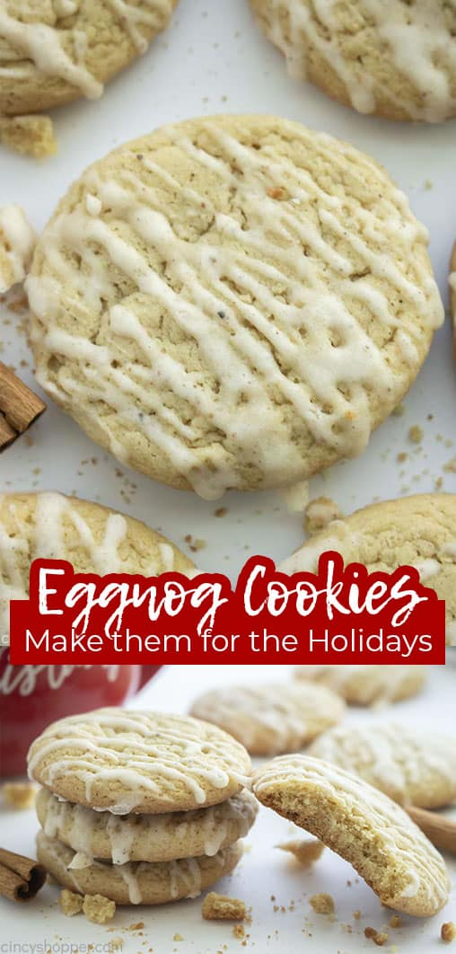 Long pin collage with banner text Eggnog Cookies Make them for the Holidays