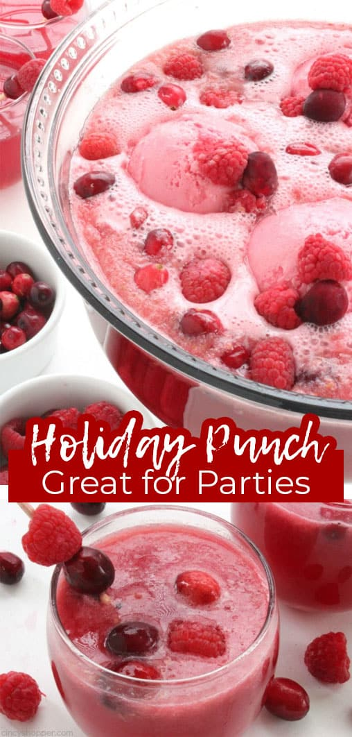 Long pin collage with text banner Holiday Punch Great for Parties