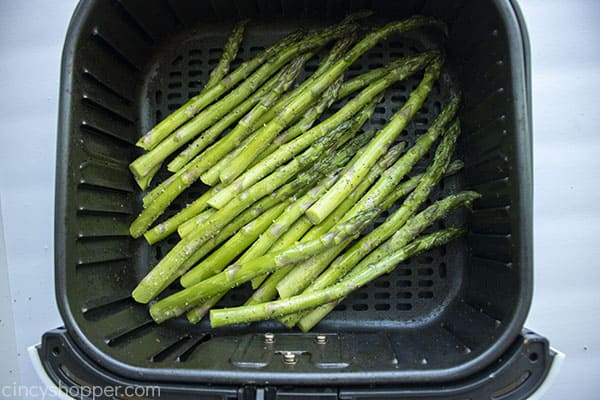 Uncooked asparagus in the air fryer