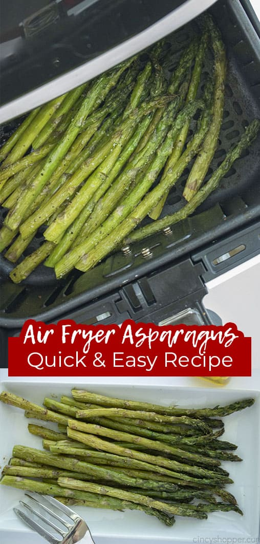 Long pin collage with text banner Air Fryer Asparagus Quick and Easy Recipe