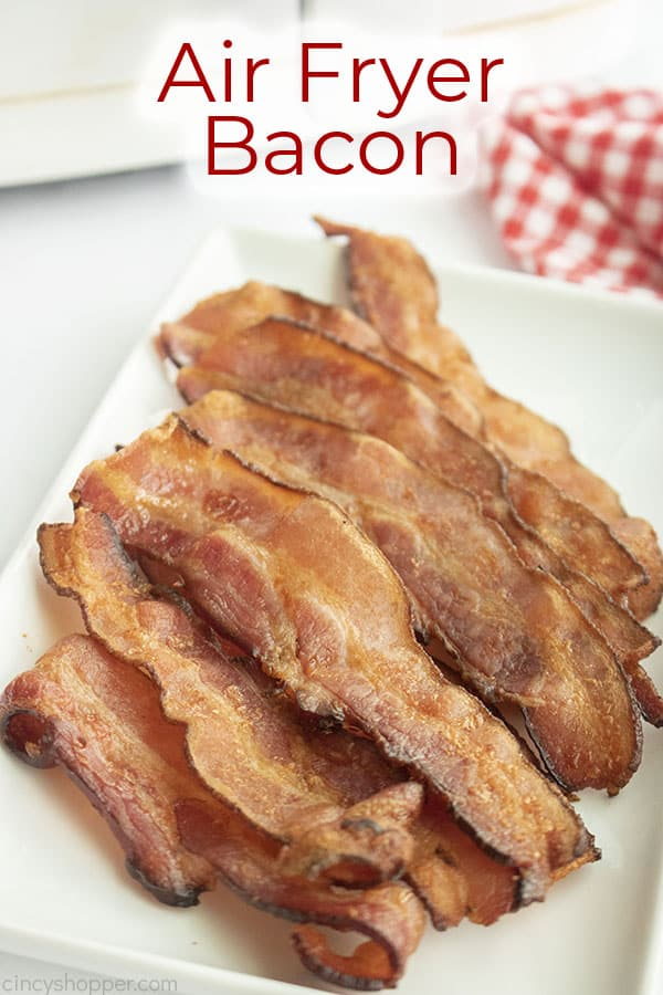 Text on image Air Fryer Bacon