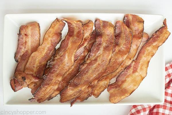 Strips of crispy bacon fried in air fryer