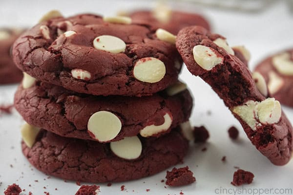 Half eaten red velvet cookie