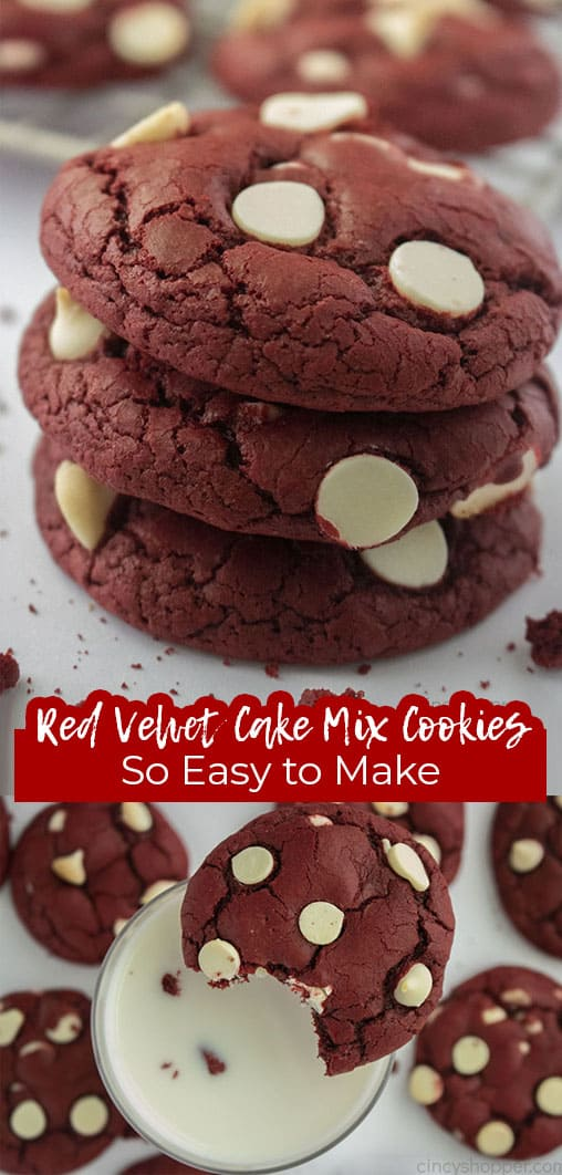 Long pin collage with banner Red Velvet Cake Mix Cookies So Easy to Make