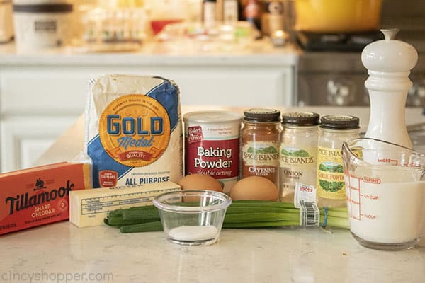 Ingredients to make quick bread wot cheese
