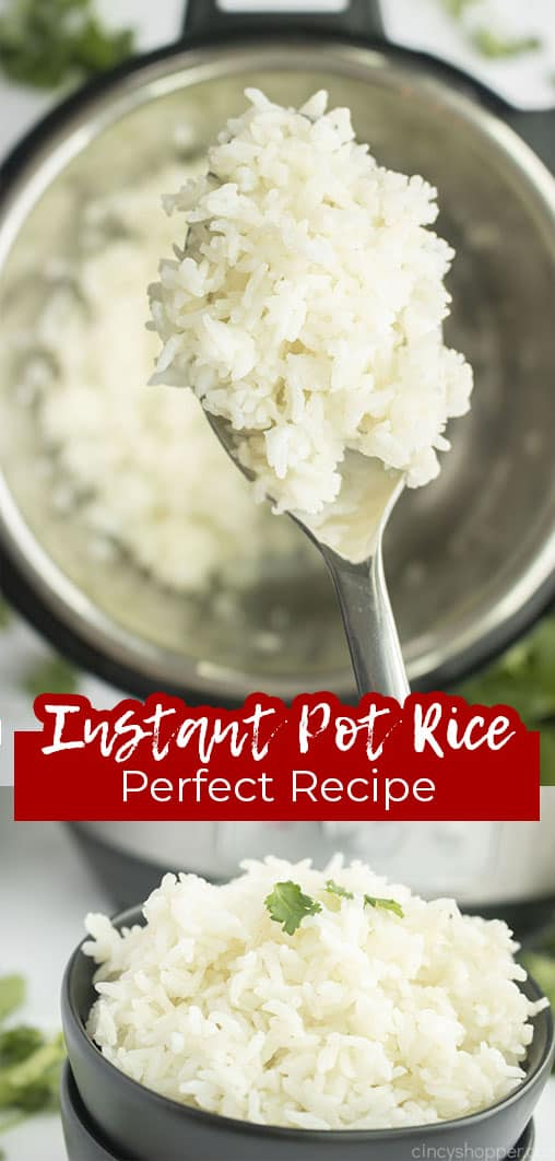 Long pin collage with text Instant Pot Rice Perfect Recipe
