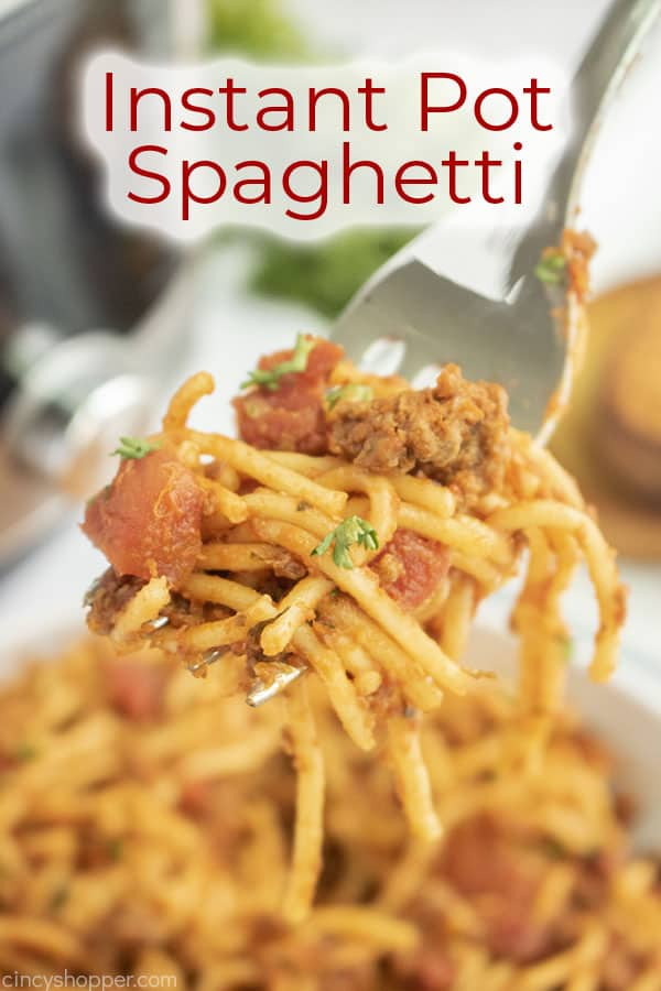 Text on image Instant Pot Spaghetti
