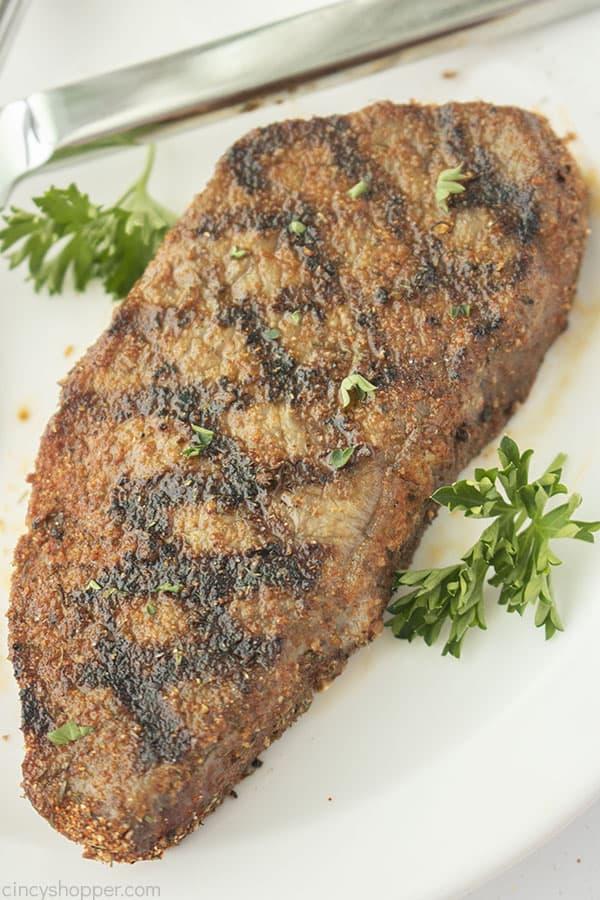 Steak seasoning on a cooked steak