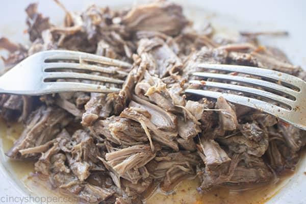Shredded barbacoa beef meat