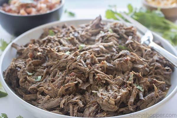 Shredded Beef Barbacoa in a bowl