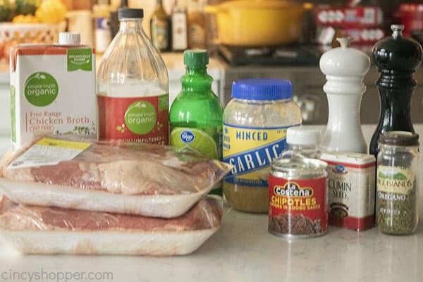 Ingredients to make homemade Barbacoa