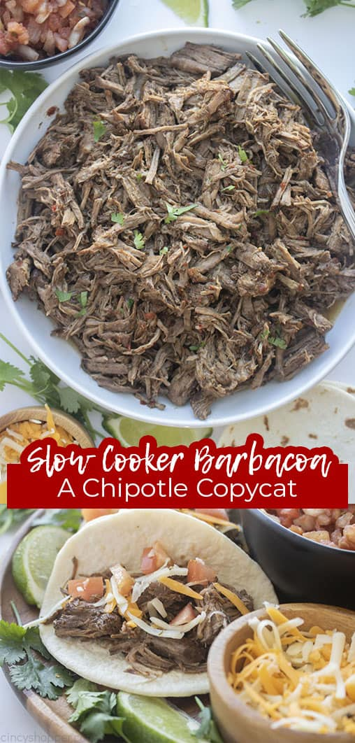 Long pin collage with text Slow Cooker Barbacoa A Chipotle CopyCat