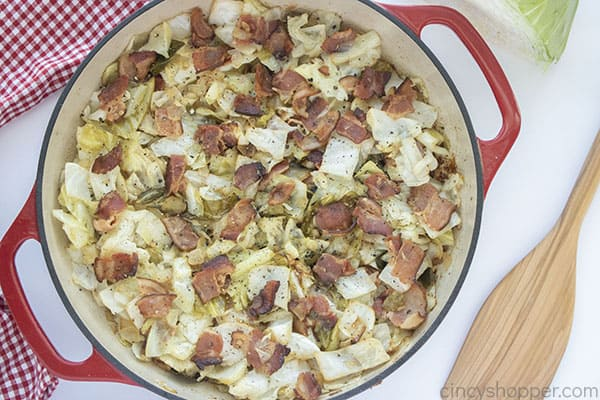 completed fried cabbage in a pan
